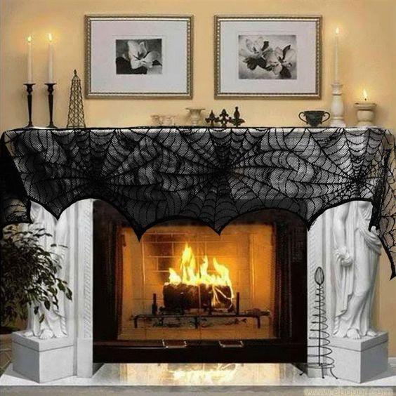 Halloween Décoration 1 Pièce Noir Dentelle Toile D'araignée Cheminée Manteau…