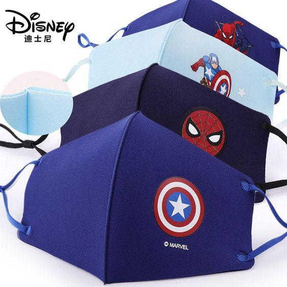 4 unids/set Disney Marvel Spiderman máscara de fiesta de cara de los niños Marvel Frozen esponja Anti-polvo protector Maks para niños niñas 3-12Y , ,