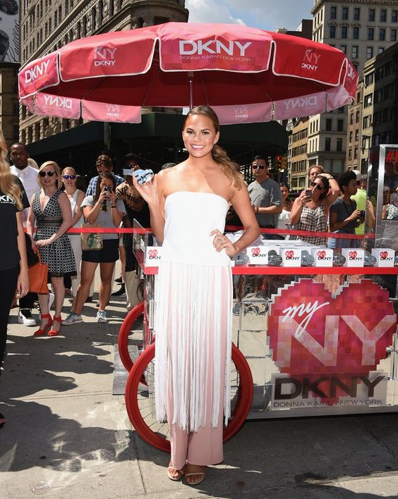 Pin for Later: From NY to LA, the Stars Are All About Prints and Hints of Lace Chrissy Teigen Chrissy Teigen at the launch of the new DKNY fragrance in NYC.