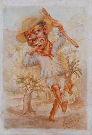 Negro Cazador de Pollos (Negro Cazador de Pollos) Víctor Patricio Landaluze ca 1880 tinta y acuarela sobre papel grueso establecidas a bordo 5 3/8 x 3 3/4 pulgadas 04500