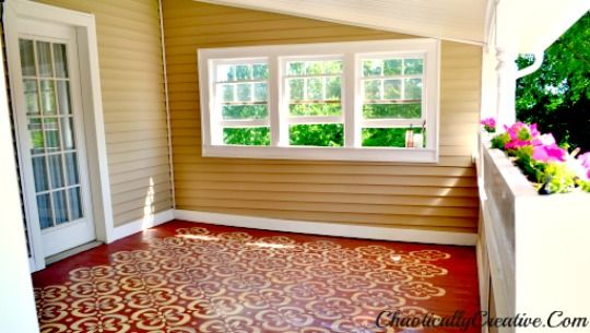 Stenciled porch floor... LOVE it!