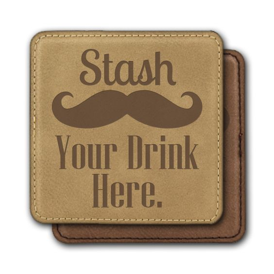 Square Leather Coasters (6) - Stash Your Drink Here