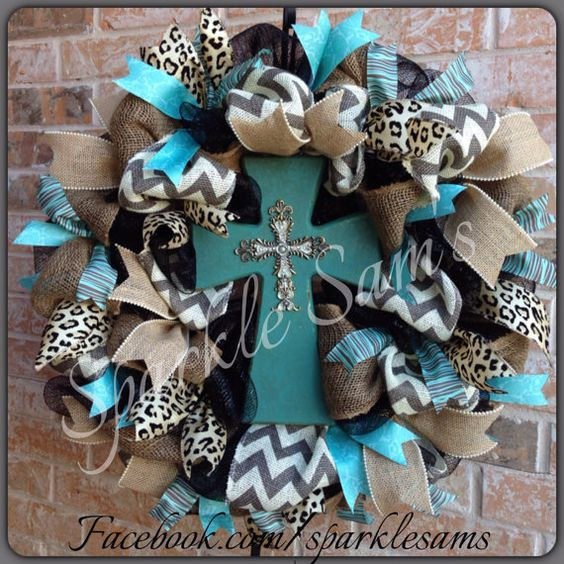 Beautiful deco mesh and burlap wreath with chevron, leopard, turquoise & cross centerpiece
