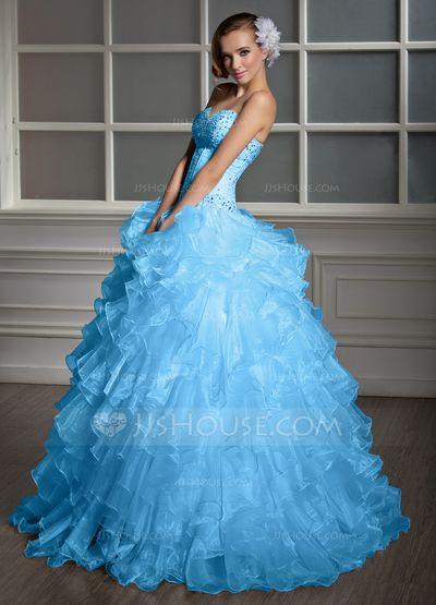 Duchesse-Linie Herzausschnitt Bodenlang Organza Quinceañera Kleid (Kleid für die Geburtstagsfeier) mit Perlen verziert Gestufte Rüschen (021020619)