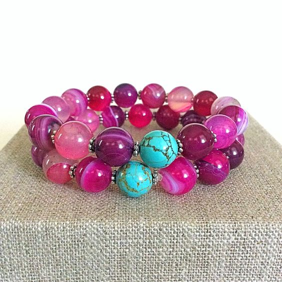 A personal favorite from my Etsy shop https://www.etsy.com/listing/452132042/pink-agate-boho-beaded-bracelet-stacking