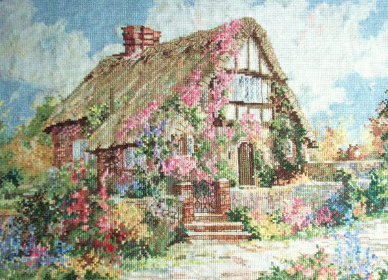 Marty Bell Wepham Cottage Completed Cross Stitch Picture on Etsy, $142.14 CAD