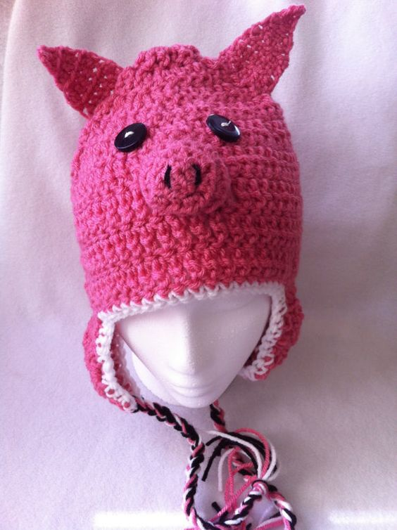 Hip Crochet  snow cap with earflaps pink pig hat by Cherie4e, $20.00