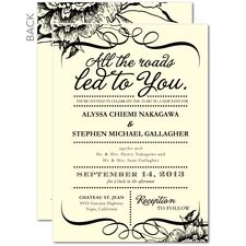 All the Roads Vintage Wedding Invitations