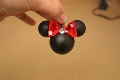 Minnie Mouse Ornament - styrofoam balls painted black, glued and add bow.