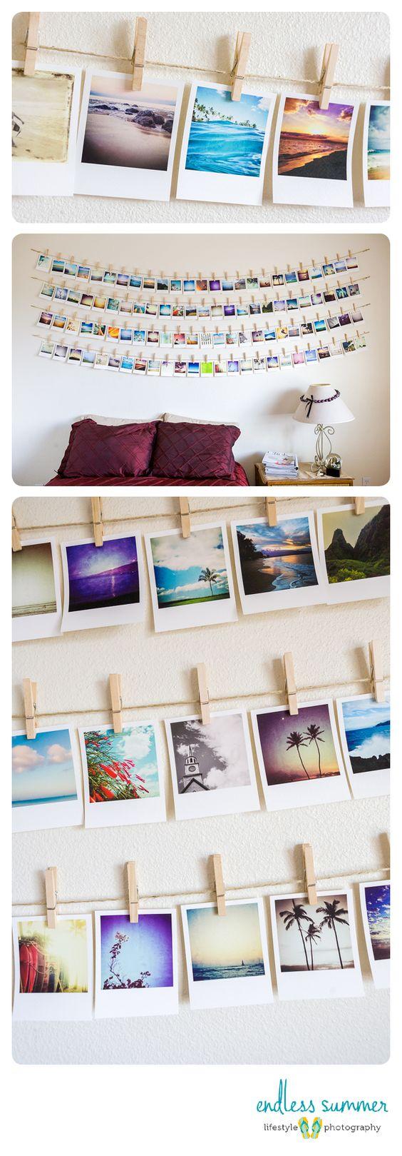 Me encantan las fotos colgadas con pinzas a un cordel (quizá no tantísimas, pero sí). He visto en Natura un marco en el que ya vienen incorporadas las pinzas y el cordel y es muuuy guay! :)