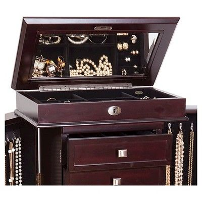 Mele Co Olympia Women S Wooden Jewelry Armoire Dark