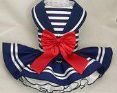 Items similar to Dog dress.Nautical Maritime Sailor by Poshdog. Tutu skirt. on Etsy