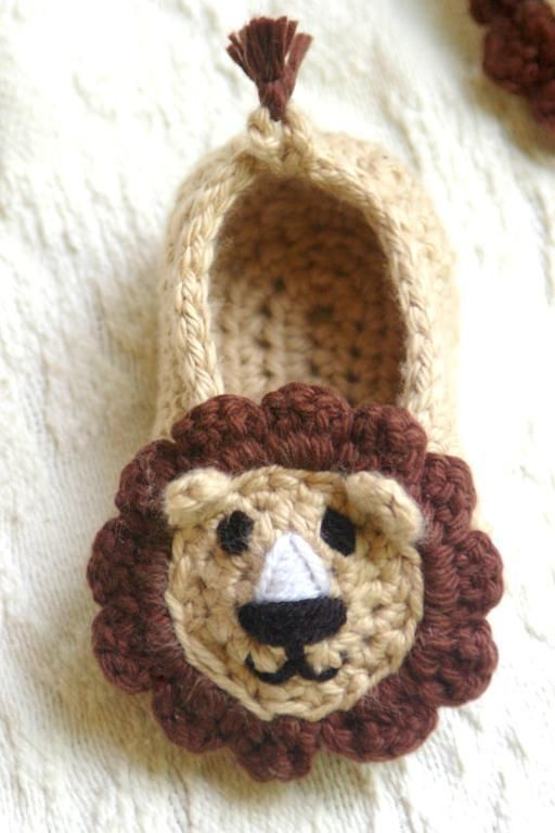 crochet Baby Lion Baby Booties
