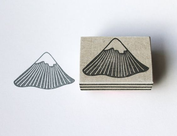 Hand carved 'mountain' stamp, 100% handmade.