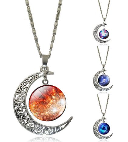 Lovely Galaxy Cabochon Glass Moon Pendant Necklace