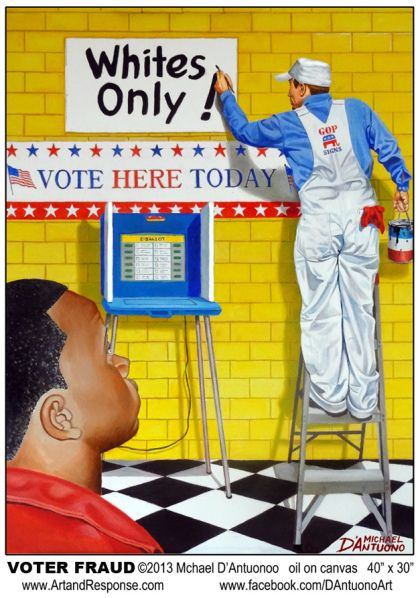Controversial Art Work (artresponse.com) Voter Suppression Sussmession by Michael D'Antuono Art Work Intended to Get A Response