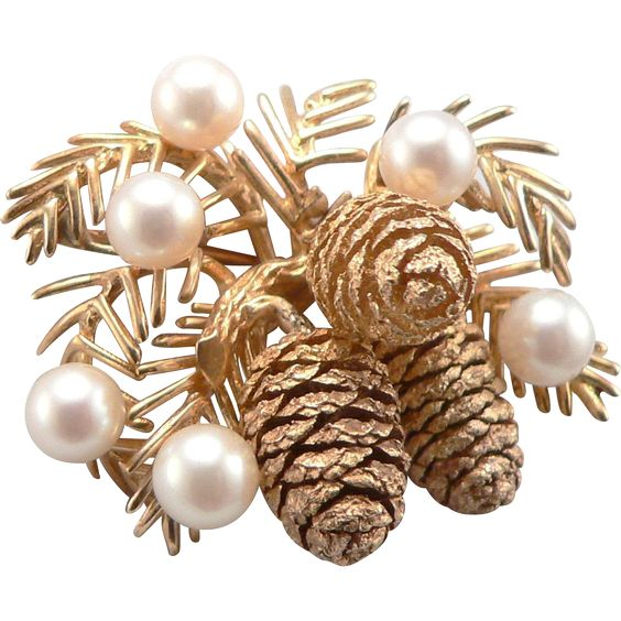 Vintage Yellow 14K GOLD PINECONE Brooch Pin Cultured Pearls Laykin et Cie Pine Cone found at www.rubylane.com @rubylanecom