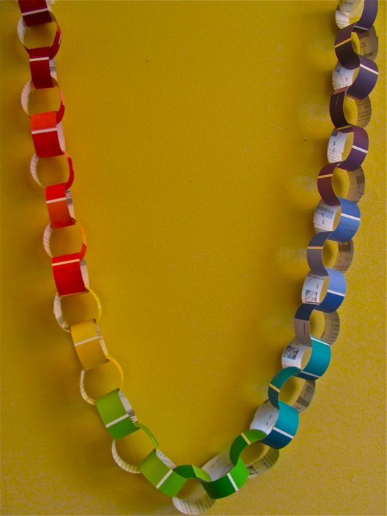Paint colors, Rainbow birthday party and Paper chains on Pinterest