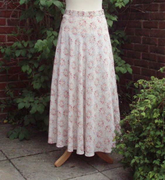 Vintage Laura Ashley Floral Rayon Long Skirt
