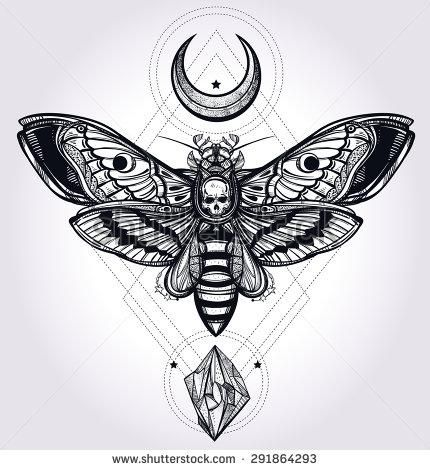 Deaths head hawk moth with moons and stones Design tattoo art Isolated vector illustration Trendy Vintage style element Dark romance, philosophy, spirituality, occultism, alchemy, death, magic - Shutterstock
