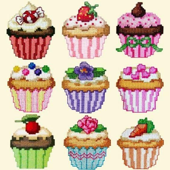 Cupcake cross stitch haft krzyżykowy babeczki muffinki