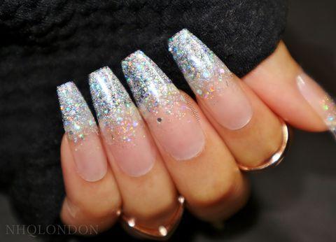 Holo Glitter Coffin Nails