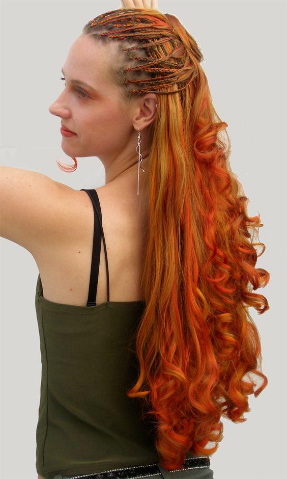 Open Braids - geflochtene Haarverlängerung mit gelocktem Kunsthaar in verschiedenen Orange-Tönen von www.Boostylez.de