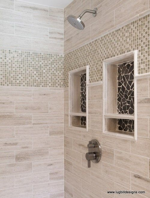 Shower Niche Designs Large Glazed Grey Marble Shower Niche