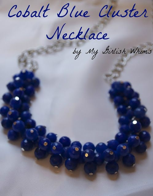 DIY Cobalt Blue Cluster Necklace Tutorial ~ only requires two basic techniques to make, so a beginner jewelry maker could easily tackle this project... Great DIY gift Idea!
