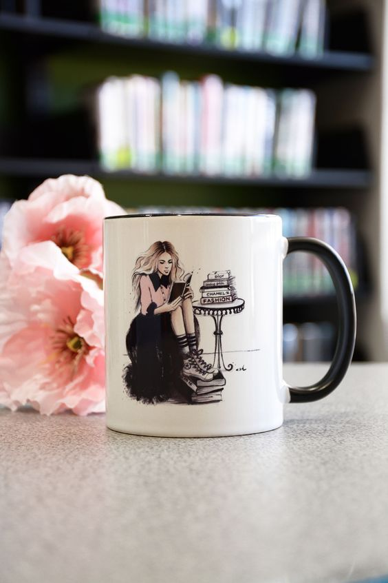 Coffee Mug for a Bookworm, illustration anna hammer, available on Etsy
