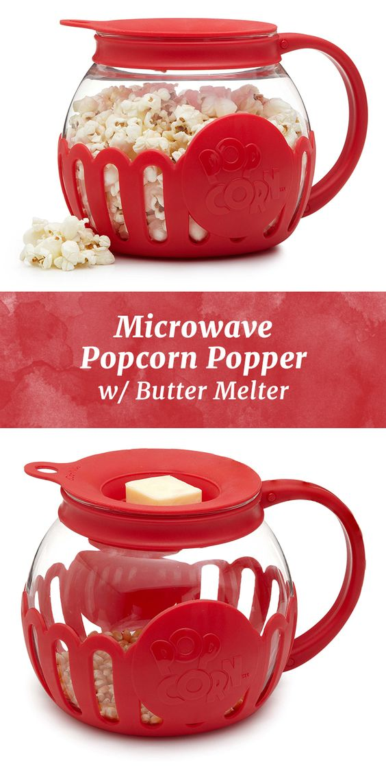Microwave popcorn gets a healthy spin with this glass popper and optional butter melter.:
