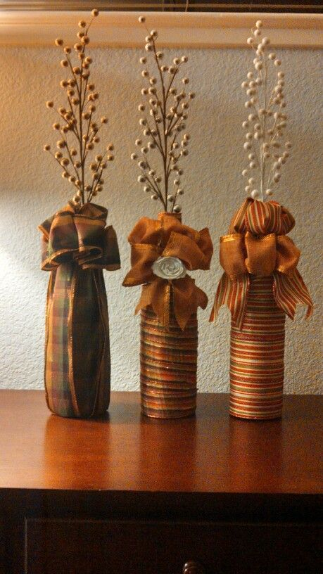 Fall Wine Bottles Wrapped In Ribbon Fall Halloween