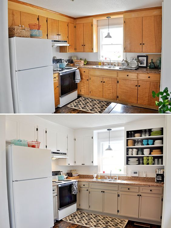 Diy inexpensive cabinet updates add trim and paint for Adding hardware to kitchen cabinets