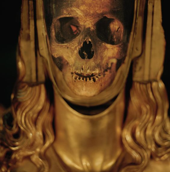 FRANCE Believing this to be the skull of Mary Magdalene when it was found in the 1200s, French Catholics encased it in gold, evoking a luminous specter of the woman the Bible describes as one of Christ's most loyal followers. It is displayed at a basilica in St.-Maximin-la-Ste.-Baume.
