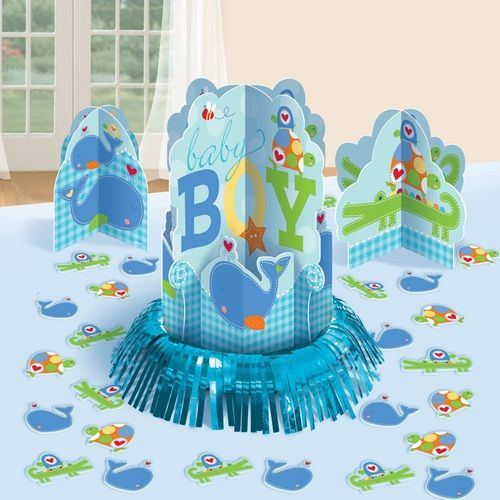 Dress your table with the adorable decorations in the Ahoy Baby Boy Table Decorating Kit!  Our 3 piece table decorating kit features:One large centerpiece  that measures 12.7 inches tall and features a blue foil fringe around the bottom of a 3 dimensional ocean scene with a �Baby Boy� announcement.  A whimsical whale floating on a bed of gingham blue waves is featured below a �Baby Boy� announcement.  A momma turtle and her baby and a buzzing bee are featured at the top of this colorful…