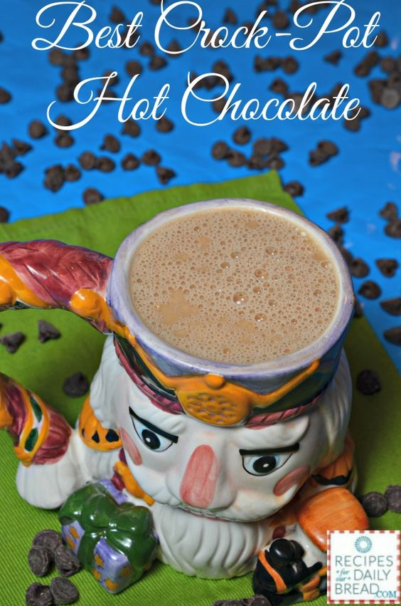 Best Crock-Pot Hot Chocolate- Warm of with this rich chocolate made with sweetened condensed milk, heavy cream, milk, vanilla, and chocolate chips. YUM!  #slow cooker #hot chocolate #crock pot #chocolate