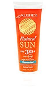 """Aubrey Organics Natural Sun Unscented Sensitive Skin/Children Sunscreen, SPF 30 .  green tea also earned a """"1"""""""