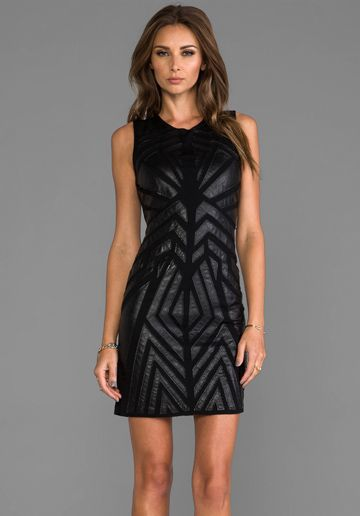 Greylin Ollie Faux Leather Cut Out Dress in Black: