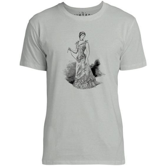 Mintage The Modern Corset Mens Fine Jersey T-Shirt (Silver)