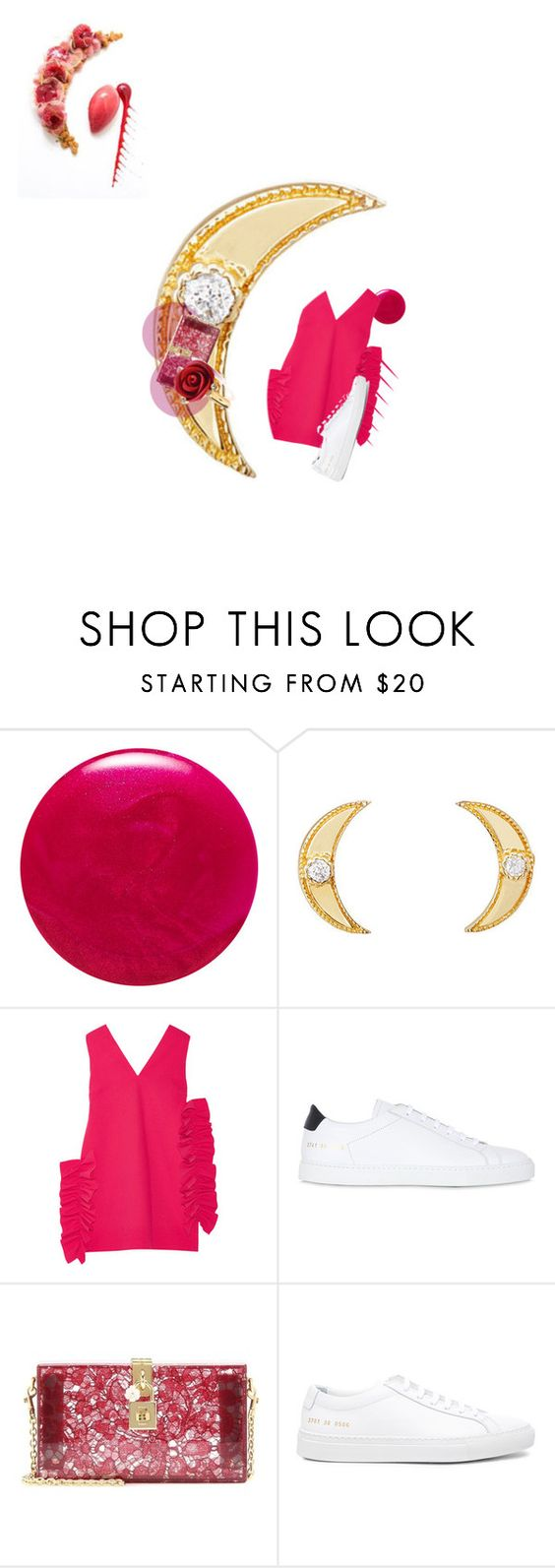 """Sweet tart plate-scape"" by sharmarie ❤ liked on Polyvore featuring JINsoon, Sara Weinstock, MSGM, Common Projects, Dolce&Gabbana and Oscar de la Renta"