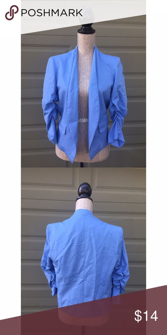 """Pretty blue open blazer Beautiful blue blazer by AsM. Size 12. Back width 19"""", length 21"""". Lined, no closure on front, rouched 3/4 sleeves.  Excellent condition. AsM Jackets & Coats Blazers"""