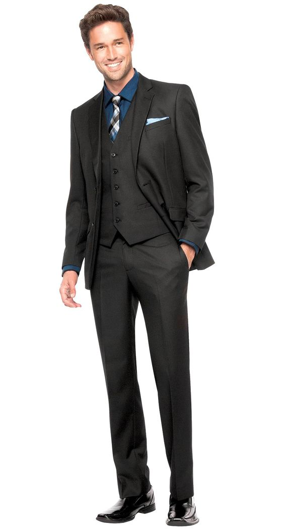 <p><strong>This Parc 81 'Parisian' men's suit by Bachrach is one lean tailored three-piece masterpiece. Styled in a modern two-button, notch-lapel double vented jacket, a 5 button vest, and slim, flat-front trousers.</strong></p> $498.00