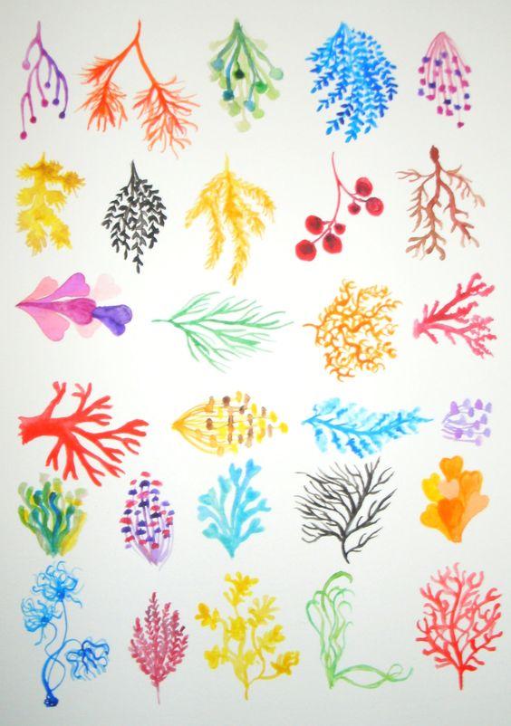 Reef Collection. Coral Reef. ORIGINAL WATERCOLOR (no print) Multicolor, rainbow colors, sea, ocean,. €25.00, via Etsy.