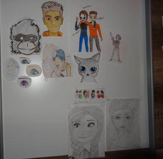 """Meine """"Zeichenwand an meinem Schrank .3//Zeichnungen//Miu"""