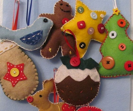 Christmas Ornaments from Etsy  http://www.etsy.com/listing/69299169/assorted-felt-christmas-ornaments-set-of