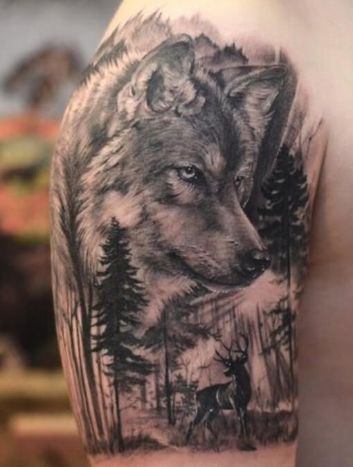 Top 12 Best Wolf Deer Tattoo Designs Petpress In 2020 Wolf Tattoos Men Wolf Tattoo Sleeve Forest Tattoos