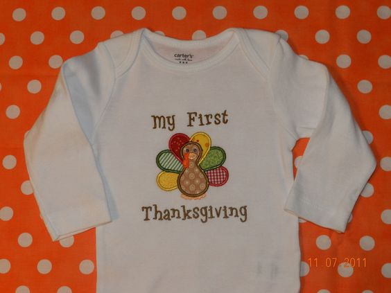 Turkey Onesie with My First Thanksgiving   by DoodlebugEmbroidery, $16.00