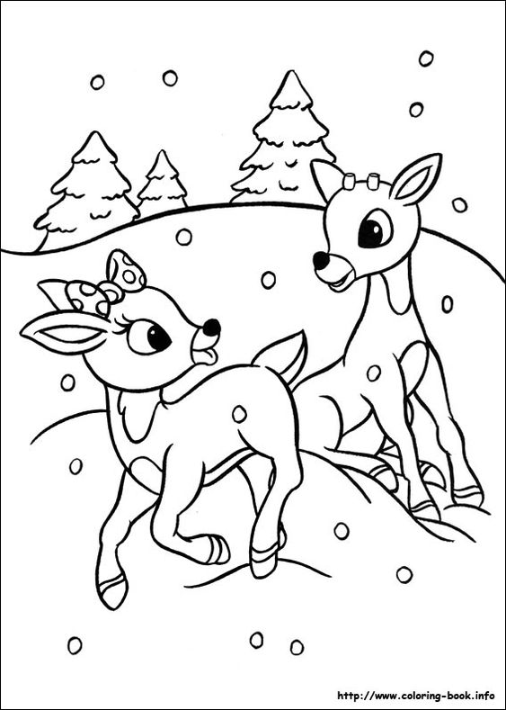 rudolph and clarice running in snow color page