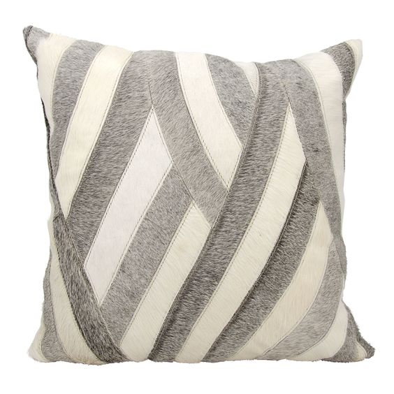 Mina Victory and Hide Wavy s / Grey Throw Pillow by Nourison