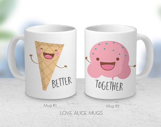 His and Hers Mugs  Couple Mug  Coffee Mug  Cute by lovealicemugs